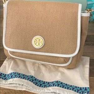 Auth Tory Burch Raffia straw shoulder bag purse